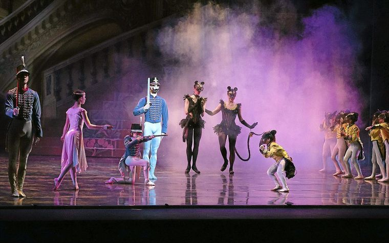 "Toy soldiers and mice face off in the battle scene from Tulsa Ballet's ""The Nutcracker."" JOEY JOHNSON/for the Tulsa World"